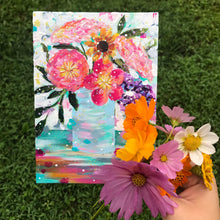 "Load image into Gallery viewer, August Daily Painting Day 24 ""Blue Skies Smiling"" 5x7 inch Floral Original - Bethany Joy Art"