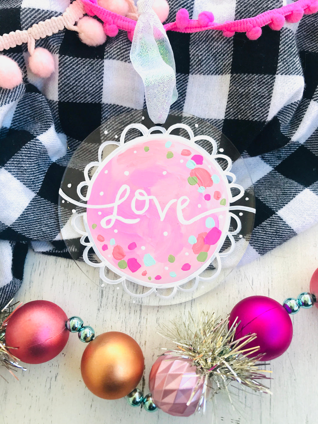 "Hand Painted Clear Acrylic Light Pink Ornament, ""Love"" - Bethany Joy Art"