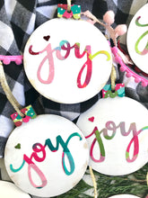 Load image into Gallery viewer, Hand painted wooden Joy ornaments for Christmas