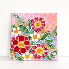 "Load image into Gallery viewer, ""Bloom Beautifully"" 5x5 inch original painting on canvas"