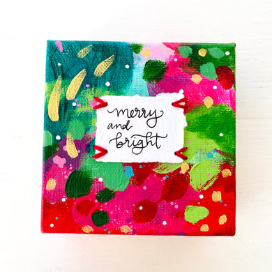 Merry and Bright 4x4 inch original abstract canvas with embroidery thread accents