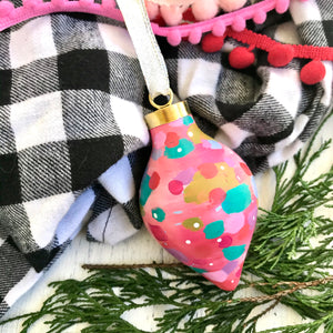 "Hand Painted Ceramic Ornament ""Peace"" Pink Multi-Color"
