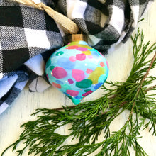 "Load image into Gallery viewer, Hand Painted Ceramic Ornament ""Love"" Blue Multi-Color - Bethany Joy Art"