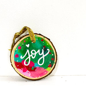 "Hand-painted wooden ornament ""Joy"" #1"