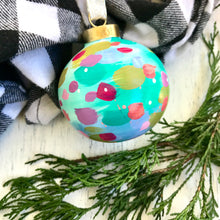 "Load image into Gallery viewer, Hand Painted Ceramic Ornament ""Holly Jolly"" Blue Multi-Color - Bethany Joy Art"