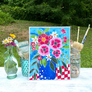 Red White and Blue Floral 8.5x11 inch art print