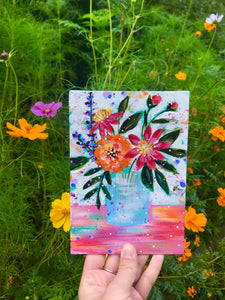 "August Daily Painting Day 21 ""A Walk Through the Garden"" 5x7 inch Floral Original - Bethany Joy Art"