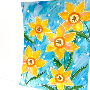 February Flowers Day 11 Daffodil 8.5x11 inch original painting