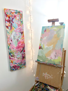 New Spring Floral Mixed Media Painting on 12.5x20 inch canvas no.2 - Bethany Joy Art