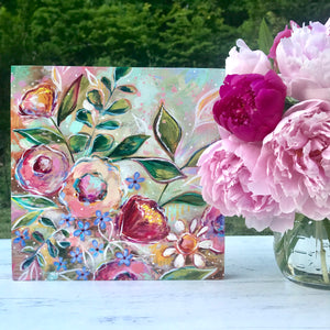 New Spring Floral Mixed Media Painting on 8x8 inch wood panel no.3 - Bethany Joy Art