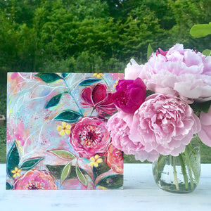 New Spring Floral Mixed Media Painting on 8x8 inch wood panel no.1 - Bethany Joy Art