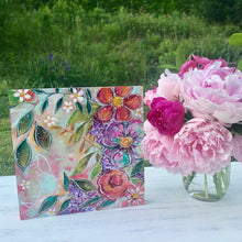 Load image into Gallery viewer, New Spring Floral Mixed Media Painting on 8x8 inch wood panel no.6 - Bethany Joy Art