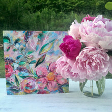Load image into Gallery viewer, New Spring Floral Mixed Media Painting on 8x8 inch wood panel no.10 - Bethany Joy Art