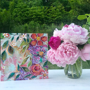 Garden of Joy Spring Floral Mixed Media Painting on 8x8 inch wood panel - Bethany Joy Art
