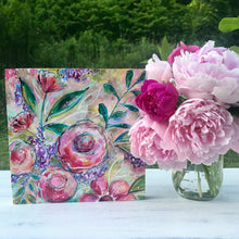 Load image into Gallery viewer, New Spring Floral Mixed Media Painting on 8x8 inch wood panel no.5 - Bethany Joy Art