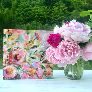 New Spring Floral Mixed Media Painting on 8x8 inch wood panel no.2 - Bethany Joy Art
