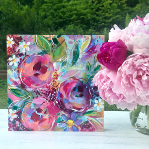 New Spring Floral Mixed Media Painting on 8x8 inch wood panel no.7 - Bethany Joy Art