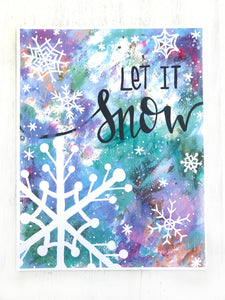 """Let it Snow"" Christmas 8.5x11 inch Art Print Holiday Home Decor - Bethany Joy Art"