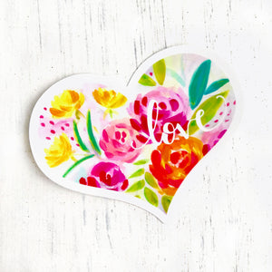 Love Sticker by Bethany Joy Art Floral Heart Vinyl Waterproof Sticker