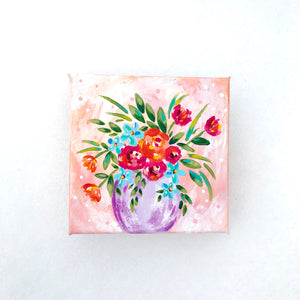 """Pretty in Peach"" Vase of Flowers Original Painting on 5x5 inch Canvas - Bethany Joy Art"