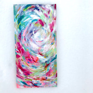 """Brighter Days"" Colorful, Abstract Original Painting on 10x20 inch Canvas - Bethany Joy Art"