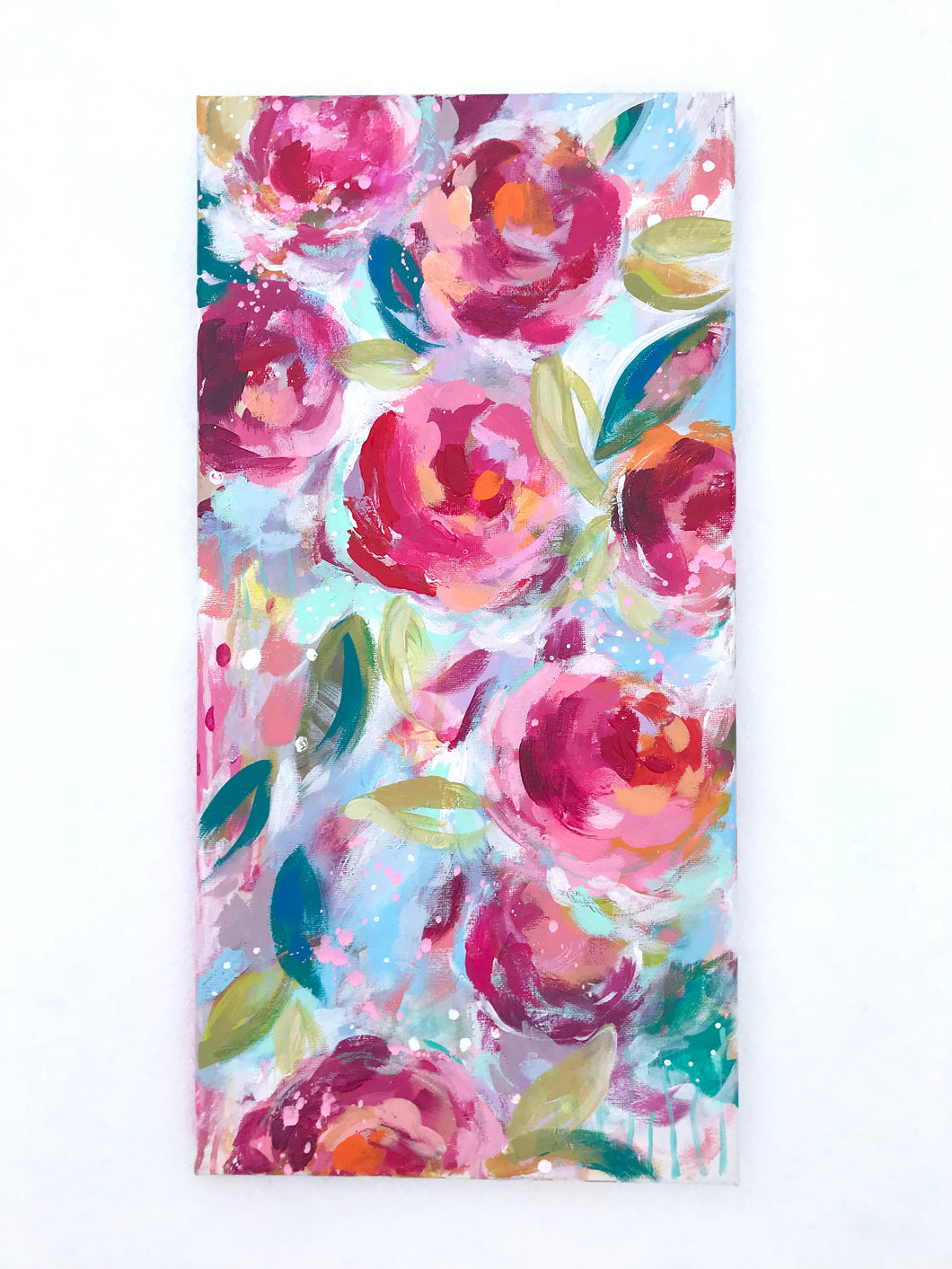 Garden Party 4 Original Floral Painting on 10x20 inch Canvas - Bethany Joy Art