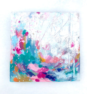 """Where the Light is"" Abstract Original Painting on 8x8 inch Canvas - Bethany Joy Art"