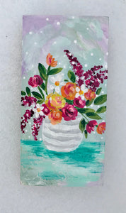 """Sweet Springtime"" Vase of Flowers Original Painting on 3x5 inch Wood Panel - Bethany Joy Art"