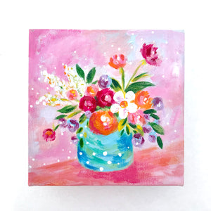 """Think Pink"" Vase of Flowers Original Painting on 6x6 inch Canvas - Bethany Joy Art"