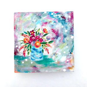 """Always, Always"" Vase of Flowers Original Painting on 8x8 inch hand stretched canvas - Bethany Joy Art"