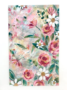 New Spring Floral Mixed Media Painting on 12.5x20 inch canvas no.1 - Bethany Joy Art