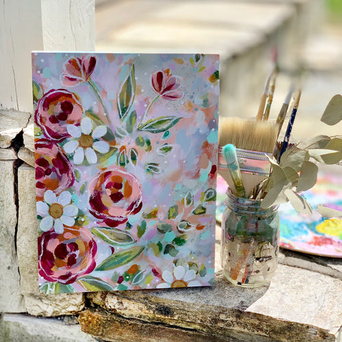 New Spring Floral Mixed Media Painting on 9x12 inch wood panel - Bethany Joy Art