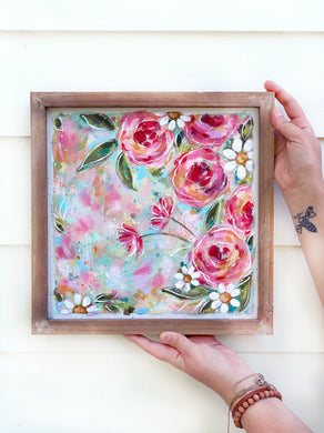 New Spring Floral Mixed Media Painting on Framed 13x13 inch canvas board - Bethany Joy Art