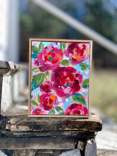Garden Party 2 Original Painting on 8x10x2 inch canvas with Wood Frame - Bethany Joy Art