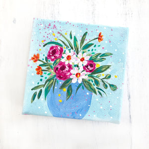 """Breath of Fresh Air""- Floral Painting on 4x4 inch canvas with 1.25 inch painted sides (pink stripes) - Bethany Joy Art"
