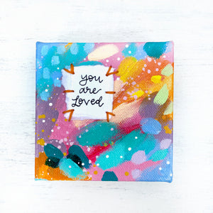 You are Loved 4x4 inch original abstract canvas with embroidery thread accents - Bethany Joy Art
