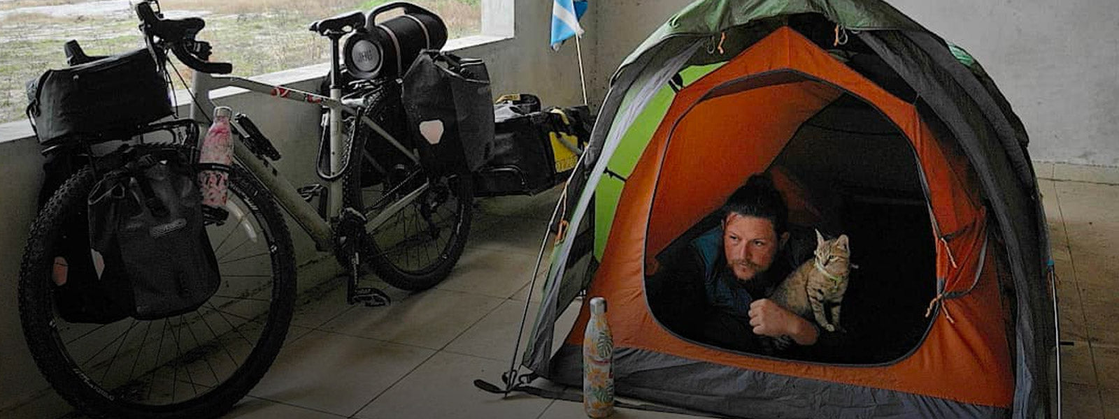 Meet The Man Who is Bikepacking His Way Around The World With A Cat