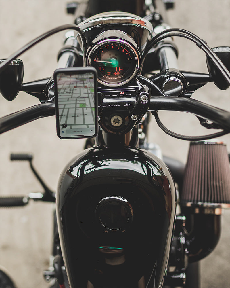 iPhone mounted to Motorcycle Handlebars with Quad Lock Handlebar Mount