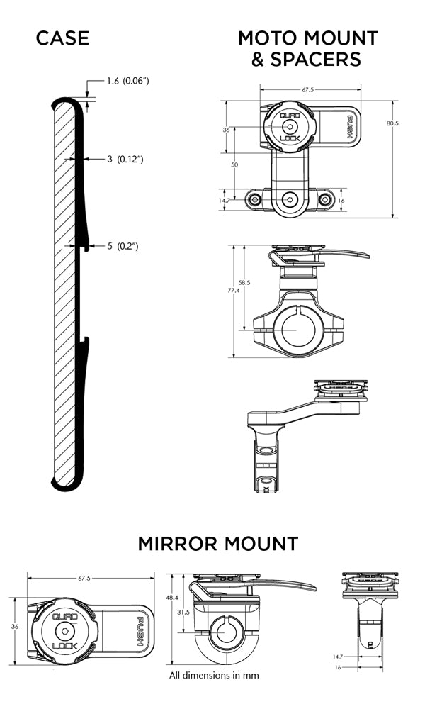 Pixel Handlebar Mount Kit Tech Specs
