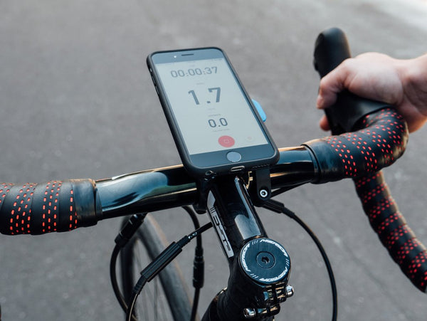 Navigating on bike handlebars using Strava with iPhone Quad Lock Bike Kit