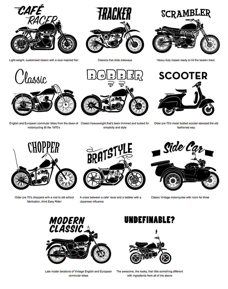The Different Types Of Wine Infographic: Cafe Racers, Scramblers, Trackers, Brats & More. What's