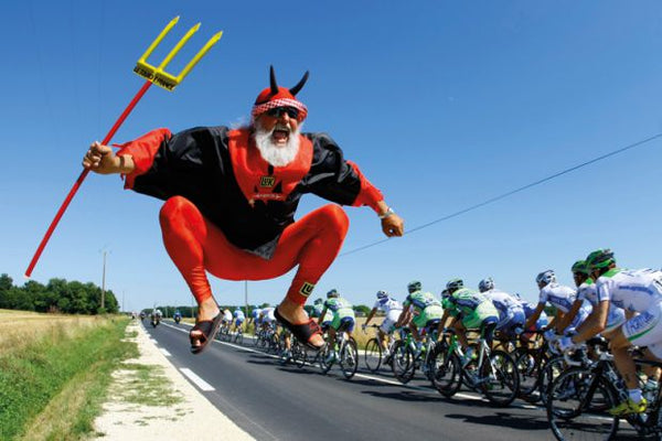 The Red Devil jumping at the Tour De France