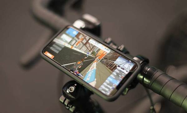 zwift on iPhone mounted to Quad Lock Bike Mount
