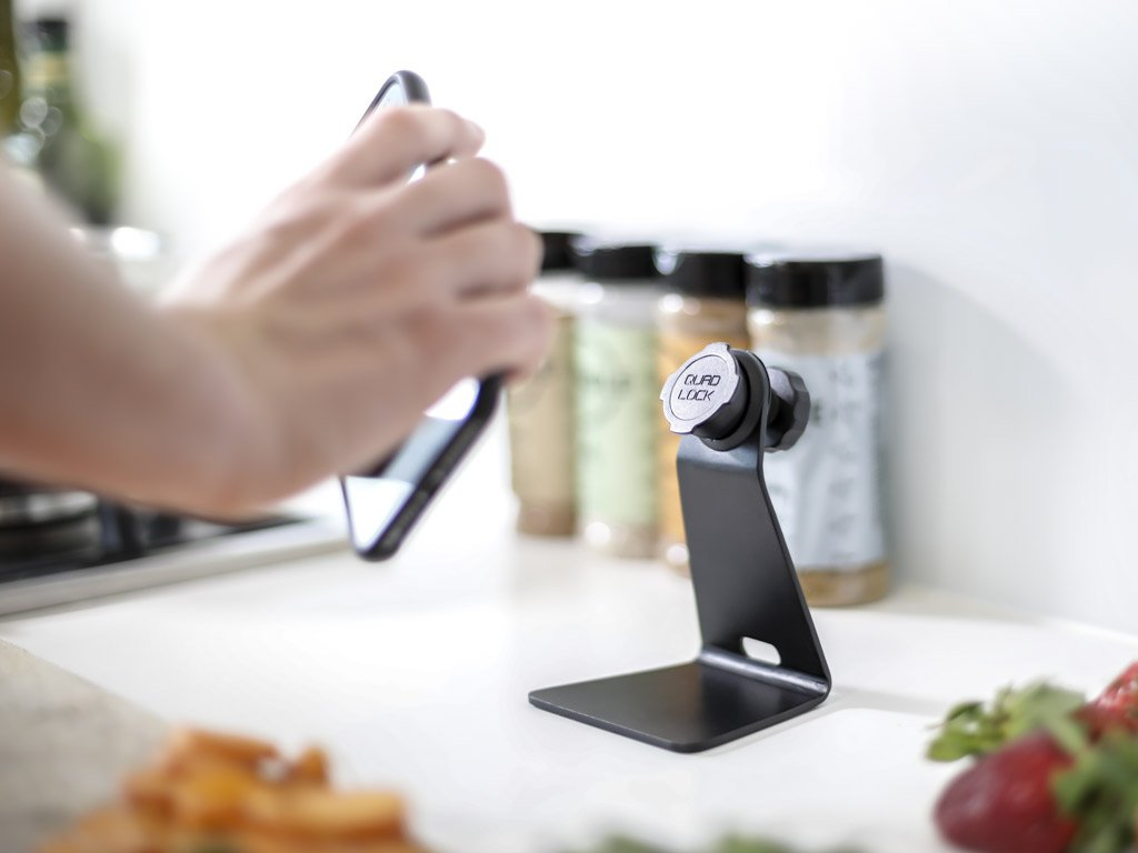 The Quad Lock Desk Mount is perfect for mounting your smartphone in the kitchen
