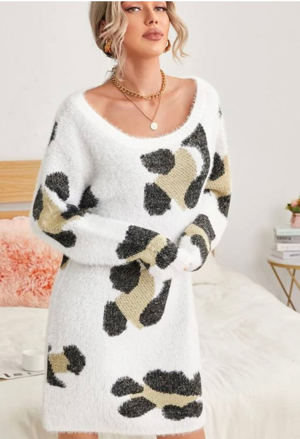 Leopard Fuzzy Sweater Dress