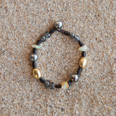 Bohemian bracelet featuring ancient African trading beads