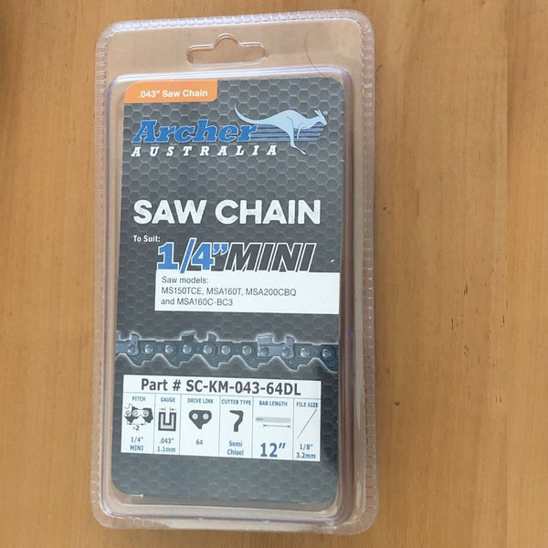 "Archer 64DL 1/4"" .043 Chain for Stihl Battery Chainsaw"