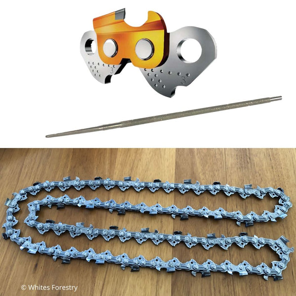 "Chainsaw Chain Tungsten Carbide, TCT Chain 25"" 3/8"" .063"" 84DL + Diamond File, Whites Forestry Equipment, Strzelecki Trading"