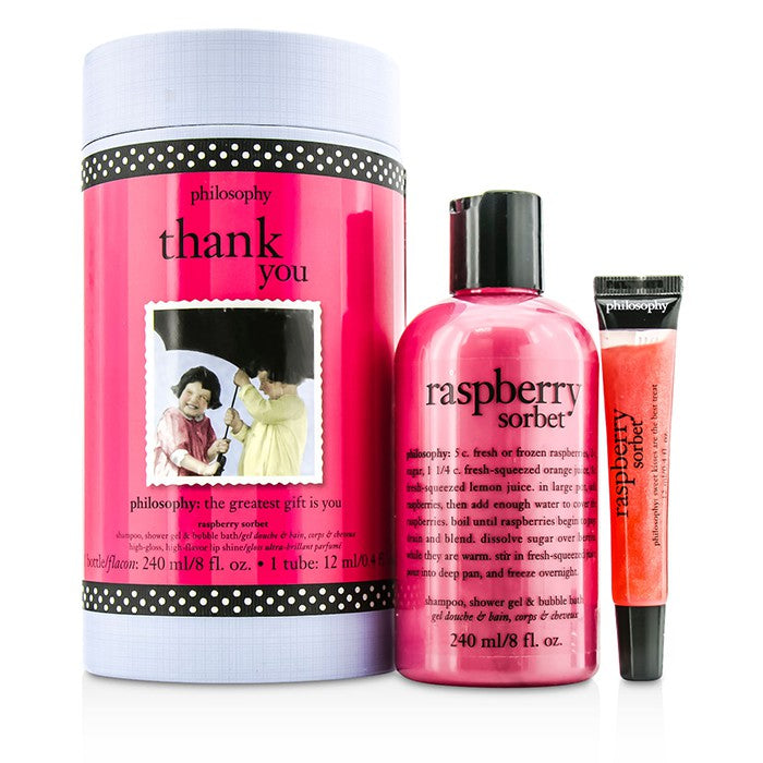 Philosophy Thank You Set: Raspberry Sorbet Shampoo, Shower Gel & Bubble Bath 240ml + Lip Shine 12ml 2pcs