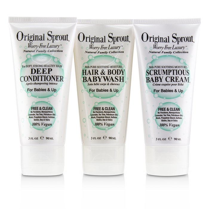 Original Sprout Travel Trio Set: 1x Deep Conditioner 90ml+1x Hair and Body Babywash 90ml +1x Scrumptious Baby Cream 90ml (For Babies & Up) 3pcs